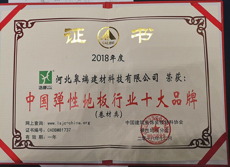 浩康荣获中国弹性地板行业十大知名品牌