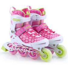 【美洲狮COUGAR】MZS767溜冰鞋儿童 欧盟品质 闪光轮滑鞋男女 滑冰旱冰鞋成人 粉色单鞋