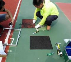 上海学校运动场地专业工作组暑期忙取样