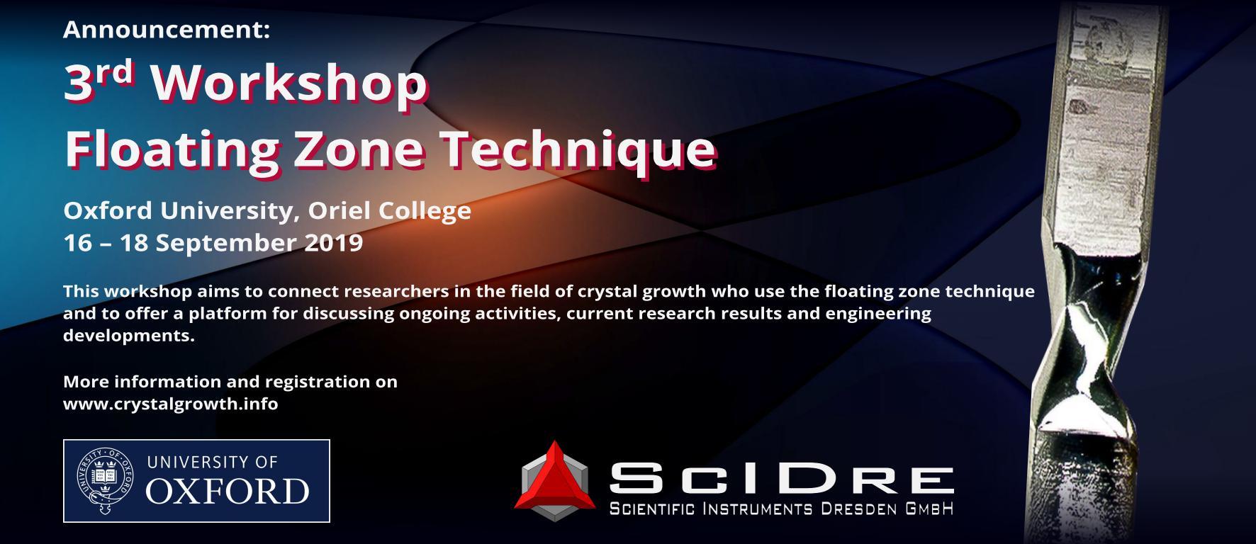 德国SciDre公司与牛津大学奥瑞尔学院联合举办第三届浮区技术研讨会